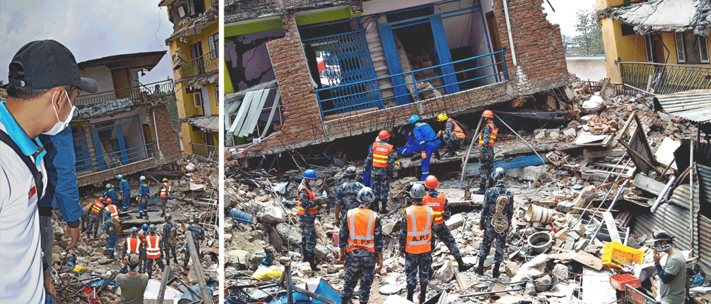 (left) The SEED team arrived at one of the grounds zero near the Kathmandu Ring Road where SAR teams were retrieving bodies from a collapsed building.