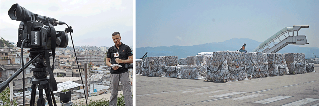 (left) Senior Correspondent Steven Clark of Mediacorp's Channel News Asia (CNA), provided 'live' reports based on the SEED team's ground evaluation. CNA has a broadcast coverage of over 24 countries and territories. (right) With the limited capacity of Kathmandu Airport, it is critical that aid agencies and help groups prioritise on bringing in key survival essentials to avoid unnecessary congestion and strain on the airport system.