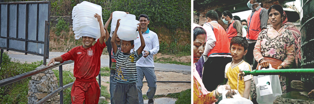 (left) Distribution of collapsible jerry cans at Bandipur, a 5-hour drive from Kathmandu, which were partially donated by Interion Pte Ltd. (right) Three units of the StepPure and the jerry cans were donated by HSL Constructor's staff who held an internal fundraising and raised over S$20,000 in a day.