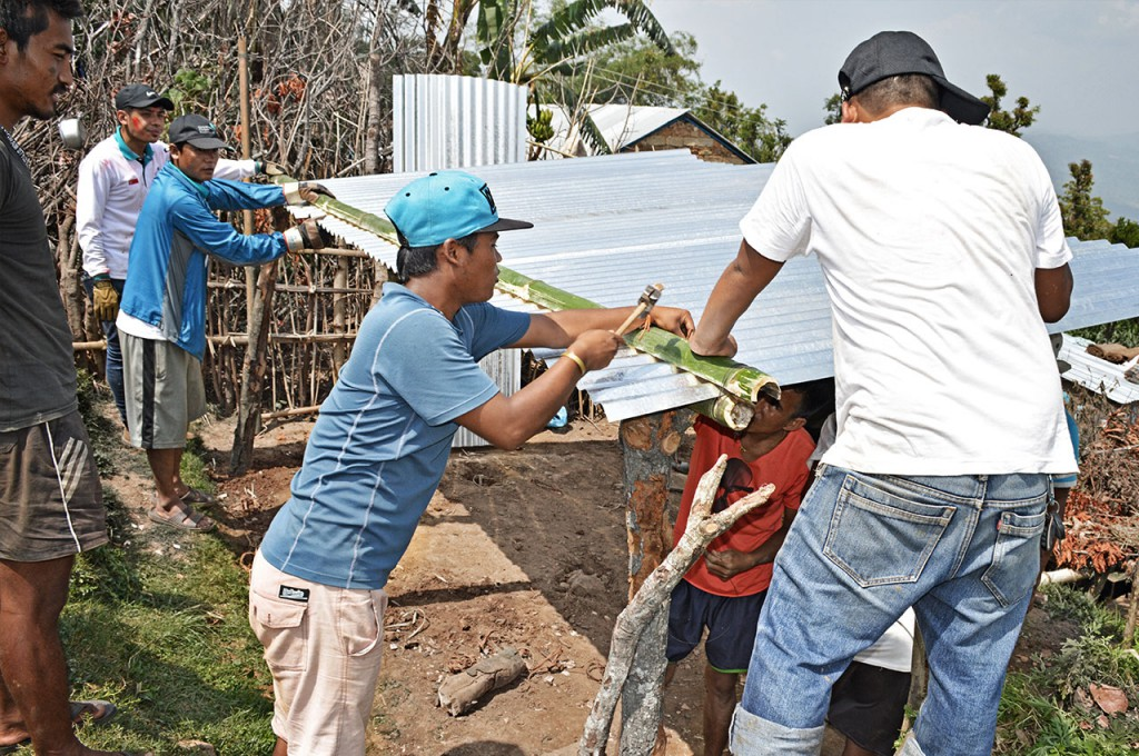Rehabilitation (Temporary Shelters) – Tarpaulins and tents which sheltered the survivors in the immediate aftermath of the quake could not provide adequate cover from heavy rains and strong winds. Zinc sheets were distributed to help erect more durable shelters to last through the monsoon season.