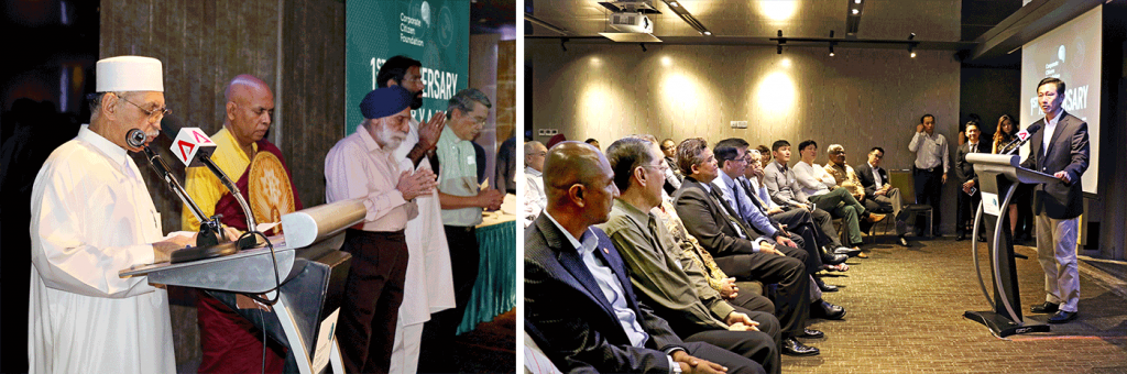 (left) A one-minute prayer for the safety of humanitarian workers and peace for our region led by inter-faith leaders. (right) Guest-of-Honour Minister Ong Ye Kung delivered his address emphasising on how the CCF and its SEED partners promote proactive corporate participation in regional disaster management.