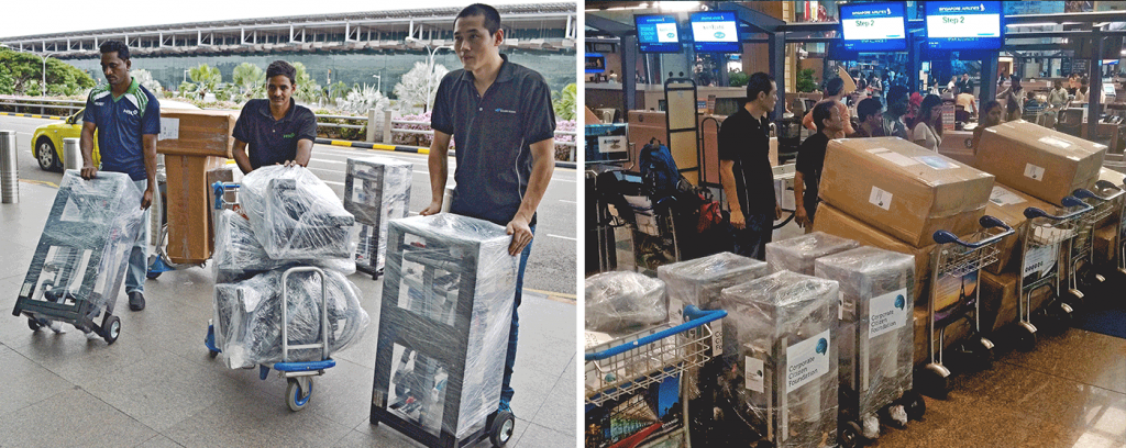 Staff of HSL Constructor and Golden Season - partners of CCF - In line of service - The team brought along relief items flown complimentary sending off the relief team and supplies by Singapore Airlines