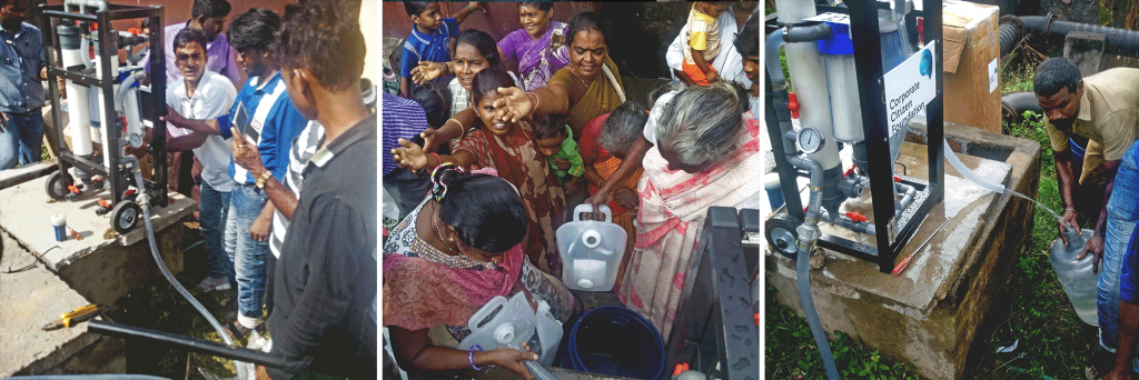 (left) CCF's volunteer, Bharath Kumar of HSL Constructor, demonstrating to and training the local volunteer groups at the Kannagi Nagar resettlement area on the use and maintenance of the manual-powered water filtration systems. (centre) Womenfolk at Kannagi Nagar resettlement area collecting potable water using the collapsible jerry cans. (right) A local volunteer acquaints himself with the use and maintenance of the water filtration system.