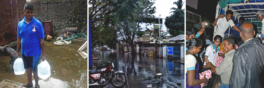 (left) Boy wonders - Water, water everywhere, but just so much to drink. (centre) Several streets in Chennai remain submerged, including this one near the Coovum river. (right) CCF's volunteers from HSL Constructor, Serena Teo and Bharath Kumar (both in white), working with local volunteers to distribute hygiene essentials to the floods-stricken slum community at the Arumbakkam area‎.