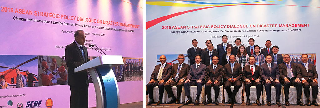 (left) CCF's Technical Adviser Hassan Ahmad shared anecdotes from his past experiences on cross-sector collaborations; (right) CCF Board Directors Teng Soo Hai and Wong Chin Sing (2nd& 3rd from left) graced the ASPDDM co-hosted by CCF, along with CCF Executive Director designate Khairul Massuan (far right)