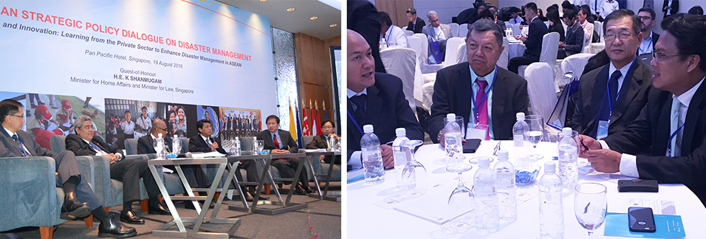 (left) CCF's Technical Adviser Hassan Ahmad shared anecdotes from his past experiences on cross-sector collaborations; (right) CCF Board Directors Teng Soo Hai and Wong Chin Sing (2nd& 3rd from left) graced the ASPDDM co-hosted by CCF, along with CCF Executive Director designate Khairul Massuan (far right).